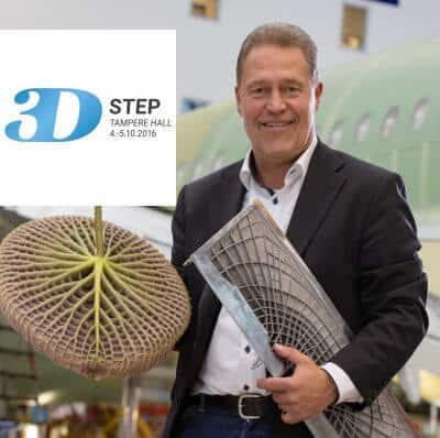 3DStep-tapahtuman pääpuhujana on lentokonevalmistaja Airbusin Peter Sander, joka pitelee kädessään lumpeenlehteä sekä samoja bionisiamuotoja omaavaa lentokoneen osaa.