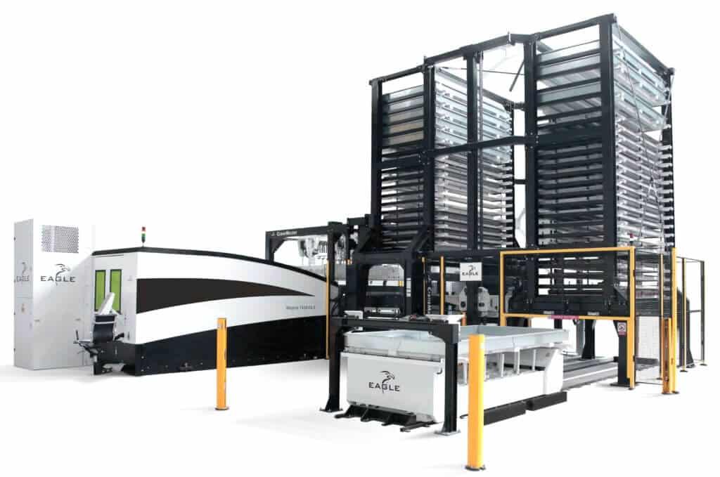 Eaglen kuitulaserleikkauskoneisiin on saatavissa kattava automaatio levytornivarastoineen.