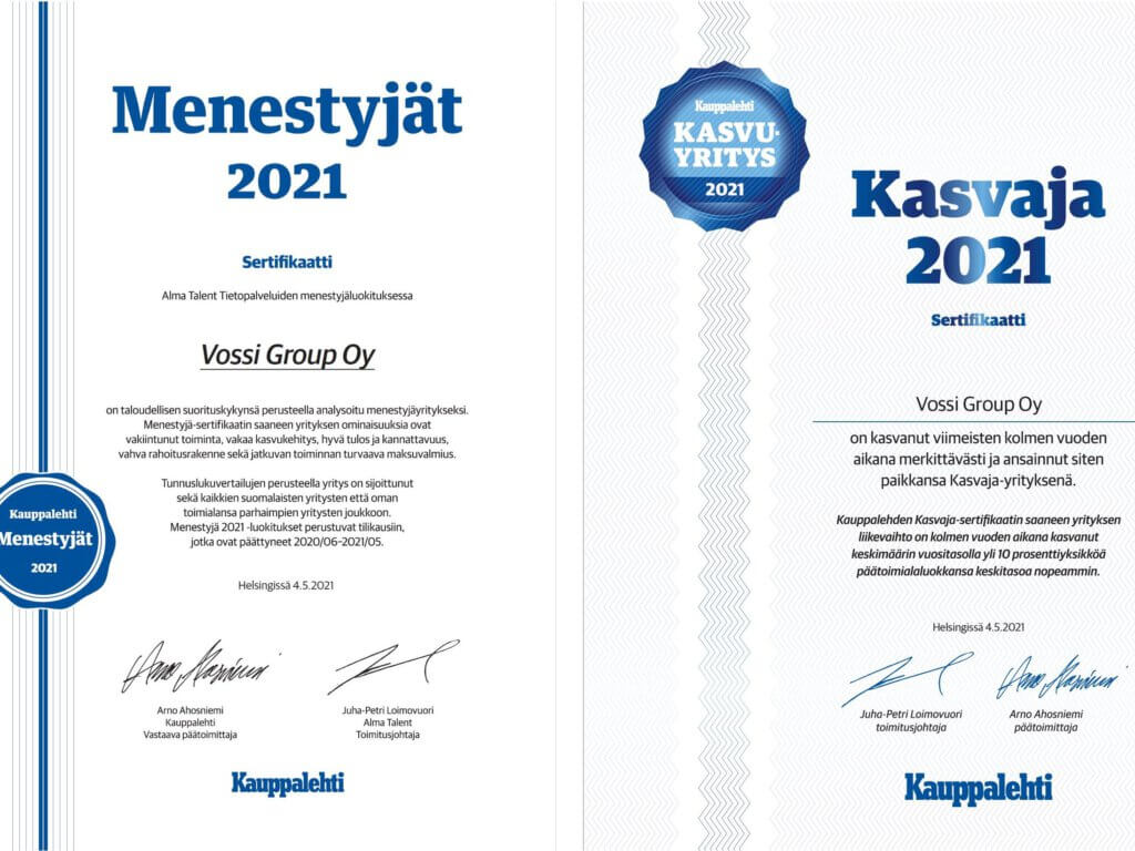Vossi Kauppalehden Menestyjä ja Kasvaja 2021
