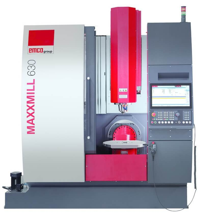 EMCO valmistaa useita erilaisia 5-, 4-, ja 3-akselisia työstökeskuksia. Kuvassa MAXXMILL 630 5-sivuiseen koneistukseen X-liike= 500, Y-liike=460 ja Z=450 mm sekä pöytä 630x500 mm.